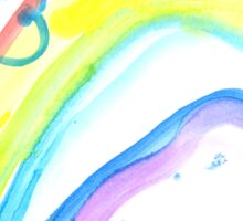 Butterfly on a rainbow - child's drawing Sticker