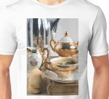 Breakfast in vintage style - espresso and Savoiardi on the table Unisex T-Shirt