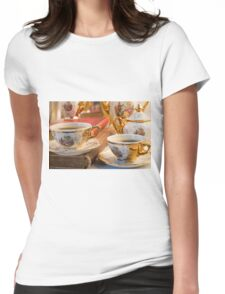 Retro porcelain coffee cups with hot espresso and vintage dishware Womens Fitted T-Shirt