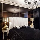 Luxury bedroom interior with golden lights by mrivserg