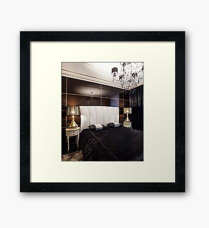 Luxury bedroom interior with golden lights Framed Print