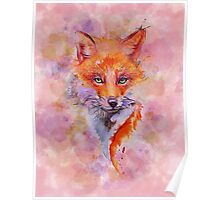 Watercolor colorful Fox Poster