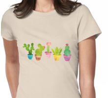 Cactus In Colorful Pots Womens Fitted T-Shirt