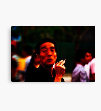 Man Smoking in the Street #1 Canvas Print