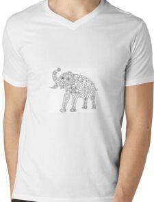 Elefant Grafik, Blumenmuster in schwarz weiß Mens V-Neck T-Shirt