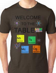 Periodic Table new elements: Nihonium, Tennessine, Moscovium, Oganesson Unisex T-Shirt