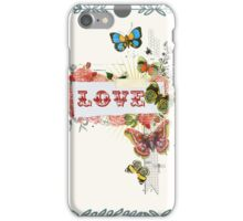 charming collage,girly,butterflies,floral,flowers,LOVE,typography,dooddles,vintage, modern,trendy,contemporary iPhone Case/Skin