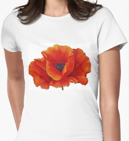 RED POPPY Painting Womens Fitted T-Shirt