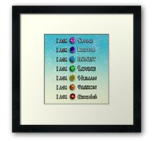 I AM. Chakras - Beach Background, No Floral Framed Print