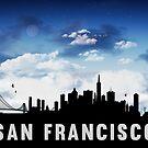 San Francisco California Skyline Cityscape Nightfall by T-ShirtsGifts