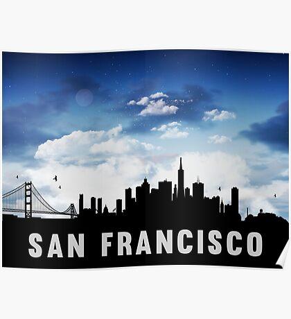 San Francisco California Skyline Cityscape Nightfall Poster