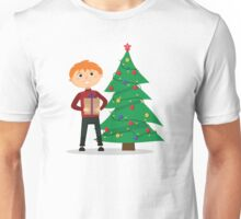 Boy with a gift in hands near the Christmas tree Unisex T-Shirt