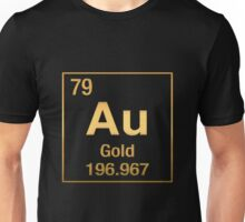 Periodic Table of Elements – Gold (Au) in Gold on Black Unisex T-Shirt