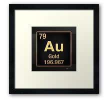 Periodic Table of Elements – Gold (Au) in Gold on Black Framed Print