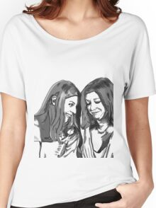 black and white Willow and Tara Women's Relaxed Fit T-Shirt
