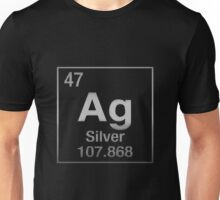 Periodic Table of Elements - Silver (Ag) on Black Unisex T-Shirt