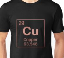 Periodic Table of Elements - Copper - Copper (Cu) on Black Unisex T-Shirt