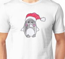 Cute Christmas Winter Penguin Watercolor Santa Hat Unisex T-Shirt