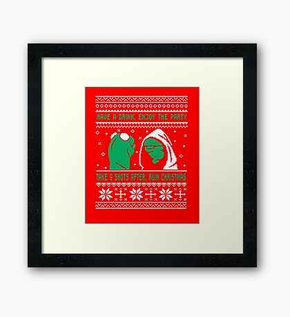 Funny Kermit Ugly Christmas Sweater Framed Print