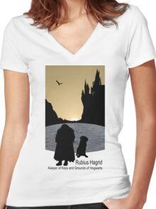 Hagrid and Fang Women's Fitted V-Neck T-Shirt
