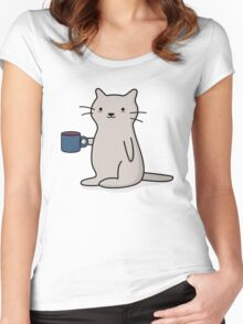 Cute Coffee Cat Women's Fitted Scoop T-Shirt