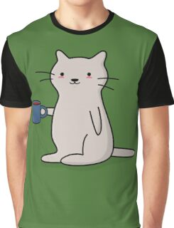 Cute Coffee Cat Graphic T-Shirt