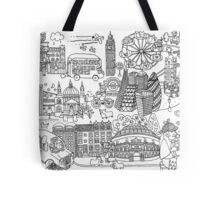 Queen's London Day Out - black & white Tote Bag
