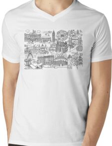 Queen's London Day Out - black & white Mens V-Neck T-Shirt