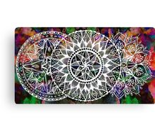 Triple White Ink Mandala on Watercolor Canvas Print