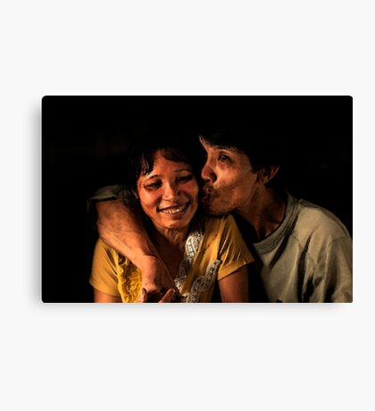 Vietnamese Man with His Wife Canvas Print