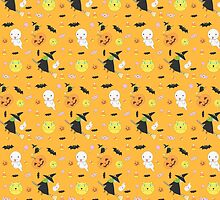Halloween Pattern feat. Witch, Ghost, Pumpkin and More by vividlee