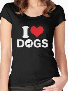 Cute Funny I Love DOGS Women's Fitted Scoop T-Shirt