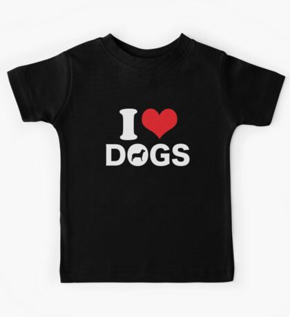 Cute Funny I Love DOGS Kids Tee