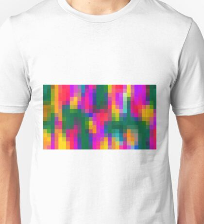 pink blue green orange yellow and purple pixel background Unisex T-Shirt