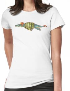 Hipster Liopleurodon Derposaur with Sweater and Ushanka Womens Fitted T-Shirt