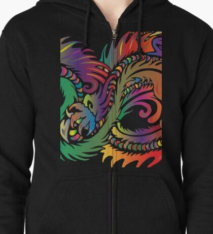 Rainbow Dragon in White Zipped Hoodie