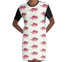 Pink Triceratops Derposaur with Wellies Graphic T-Shirt Dress