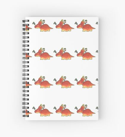 Orange Styracosaurus Derposaur with Socks Spiral Notebook