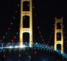 Mackinac Bridge in Lights Sticker