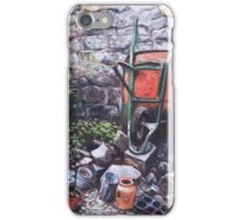 Still life wheelbarrow with collection of pots by stone wall iPhone Case/Skin
