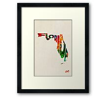 Florida Typographic Watercolor Map Framed Print
