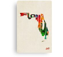 Florida Typographic Watercolor Map Canvas Print