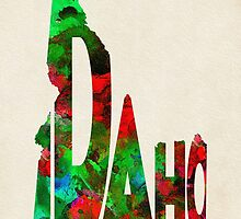Idaho Typographic Watercolor Map by A. TW