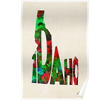 Idaho Typographic Watercolor Map Poster