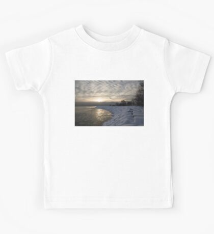 Cold, Moody and Fabulous - a Winter Morning on the Lake Shore Kids Tee
