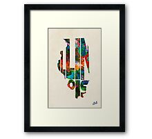 Illinois Typographic Watercolor Map Framed Print