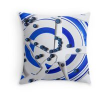 Broken Plate With Blueberries  Throw Pillow