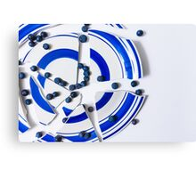 Broken Plate With Blueberries  Canvas Print