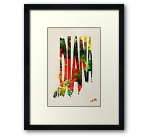 Indiana Typographic Watercolor Map Framed Print