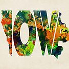 Iowa Typographic Watercolor Map by Deniz Akerman